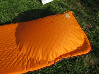 Top side of Thermarest mat, impossible to sleep on once sides separate. Peak District, 2011