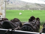Drying boots on the Dales Way, April, 2012