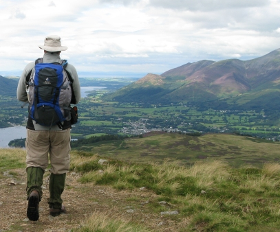 High gaiters in use in the Lake District, 2008. Useful in wet high grass but condenstation can be a problem, even when constructed of Goretex as with these from Mountain Range