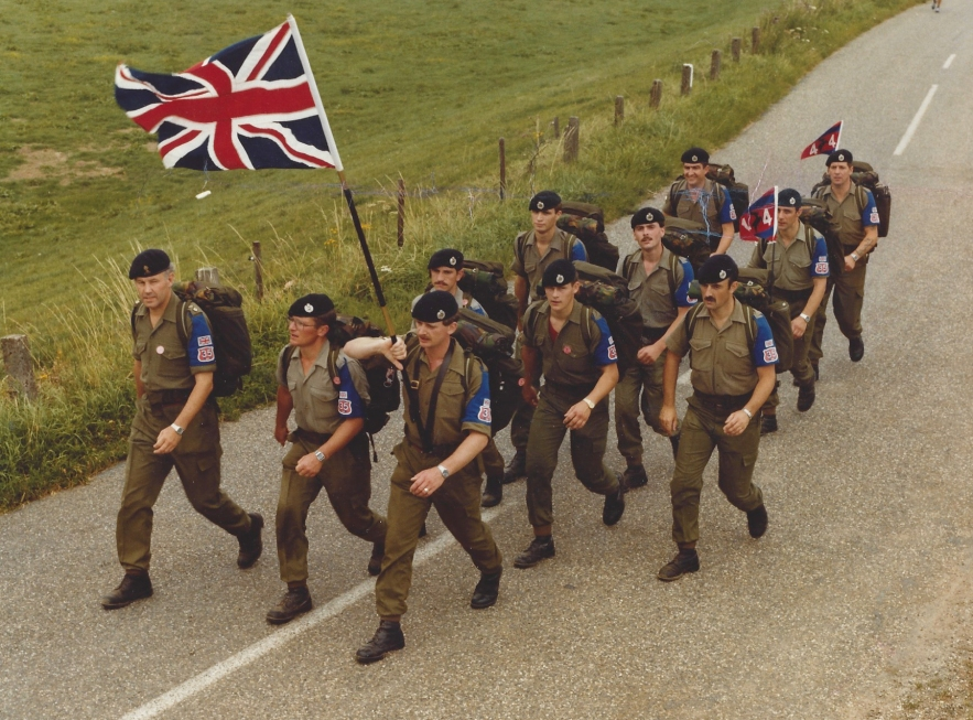1982. Part of the 44 Squadron Marching Team