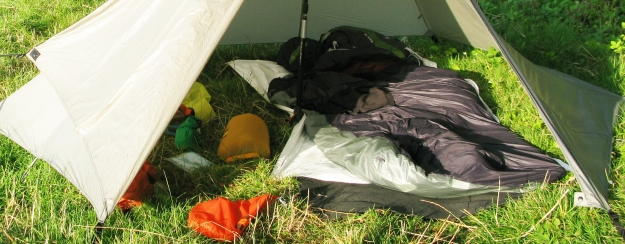 Wild camp on Boudicca Way in 2014. This shows my favoured sleeping system at present. Thermarest sleeping pad inside Katabatic Bristlecone bicvvy bag with Katabatic Palisade quilt. Luxury...