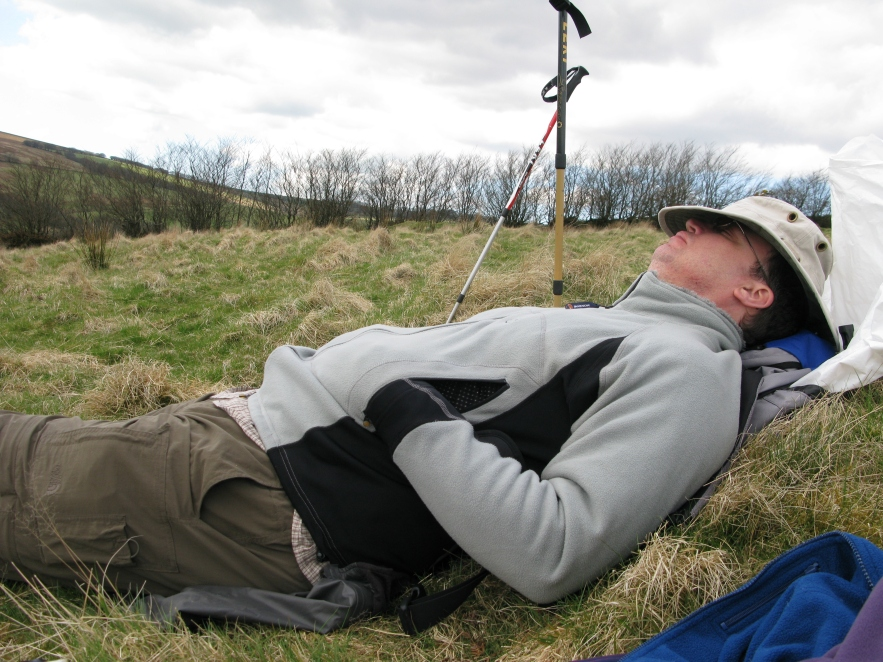 A brief halt on Exmoor in 2009, time to pull on Montane Jaguar Polartec fleece. Sooo cosy, it makes you want to....