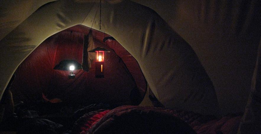lanterns in tent