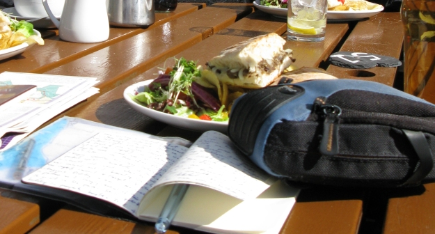 Journalling at a 'sensible' lunchtime pub stop on the West Highland Way. 2013