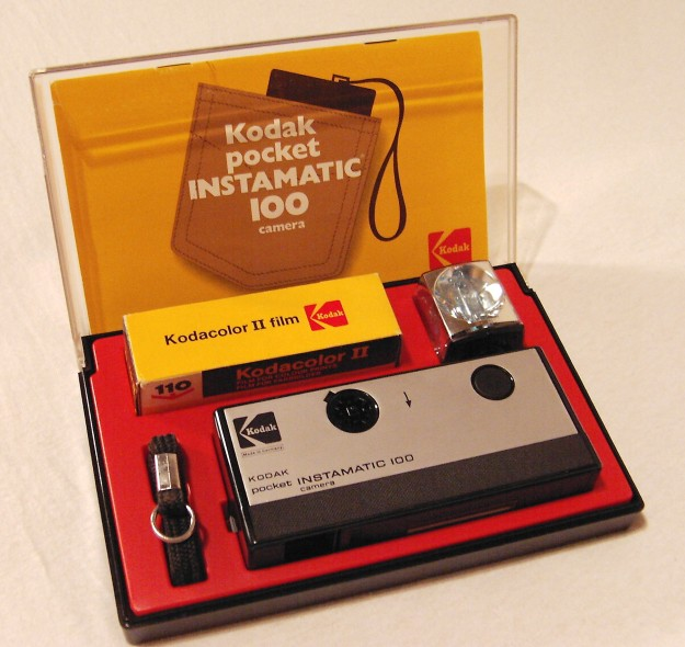 Kodak Instamatic 100. Lens was 25mm f/11 triplet with 1/60 shutter
