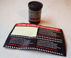 To inform the studio on how to develop and print the film, a sticker was applied to the film canister