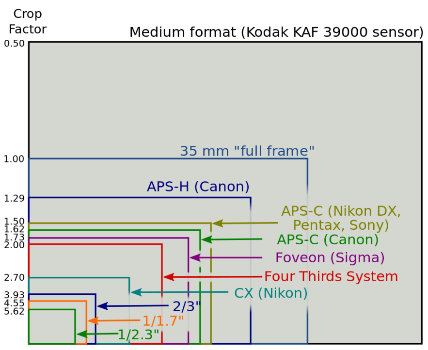 Sensor sizes, you can see how small the sensors are in compact cameras compared to the Four Thirds and Full Frame sensors found in high end, larger models