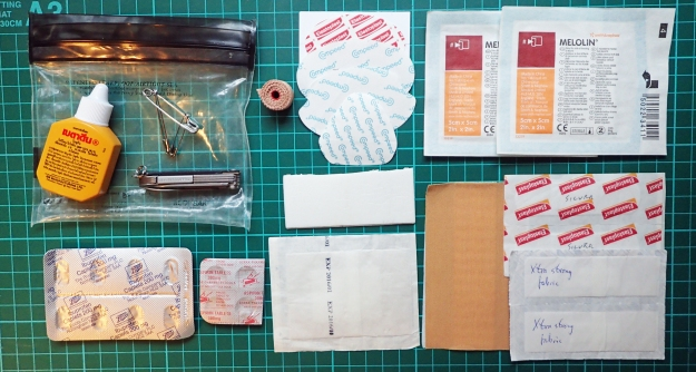 Small First Aid Kit with an emphasis on contents for foot care