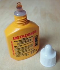 Betadine Povidone-Iodine antiseptic liquid. This especially useful for applying to broken blister prior to covering with tape. 15ml (total weight 22.5g)