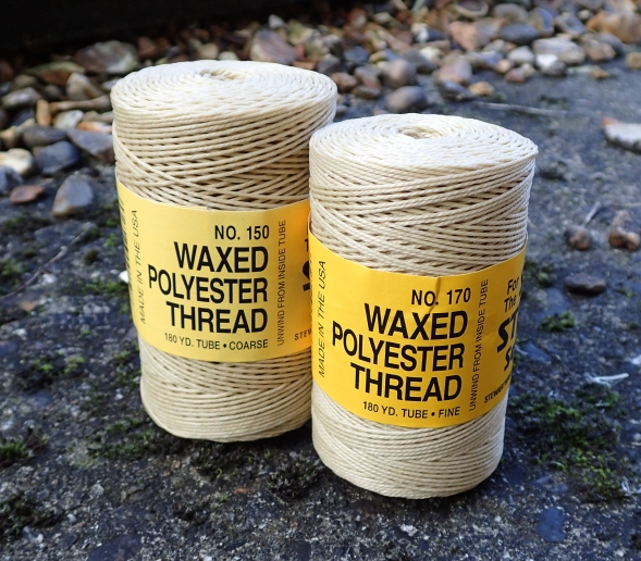 The Coarse (No. 150) and Fine (No 1700 waxed polyester theads produced by Stewart Manufacturing for use with their Speedy Stitcher