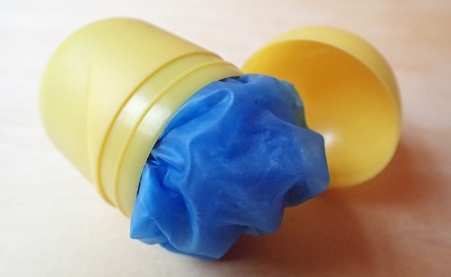 An effective alternative container for gloves is to use one of the small 4g plastic containers found in Kinder Surprise Eggs