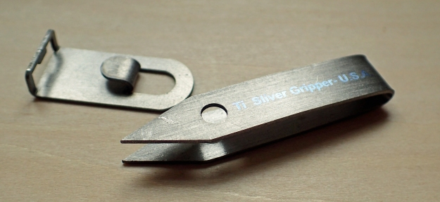 Titanium Sliver Gripper tweezers and clip holder
