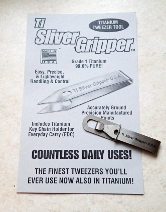 Titanium Sliver Gripper tweezers. Made in the U.S.A.