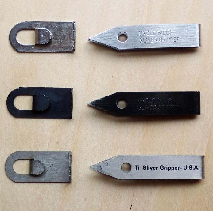 Top: Stainless steel tweezers, centre: Black anodised, bottom: Titanium