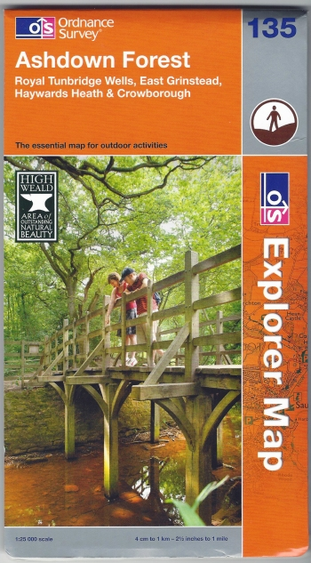 Ordnance Survey Explorer 135. Ashdown Forest. 1:25 000. Published 2013