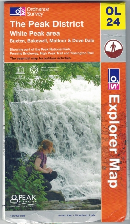 Ordnance Survey Explorer. OL 24. The Peak District, White Peak area. 1:25 000. Printed on both sides of sheet. Published 2009