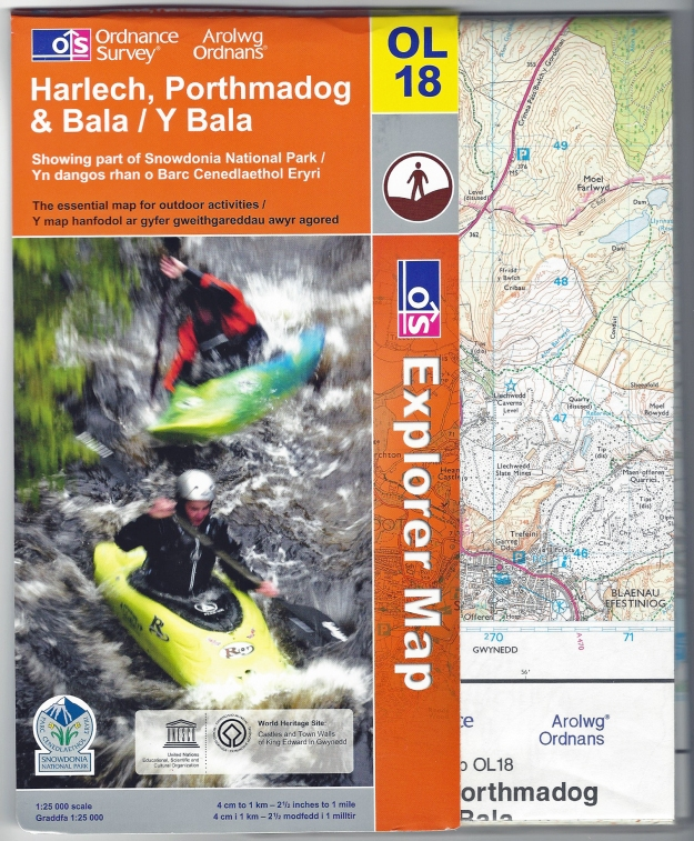 Tuff Map- Ordnance Survey. OL18. Harlech, Porthmadog & Bala/Y Bala. 1: 25 000. Published 2009. Sleeve seperate