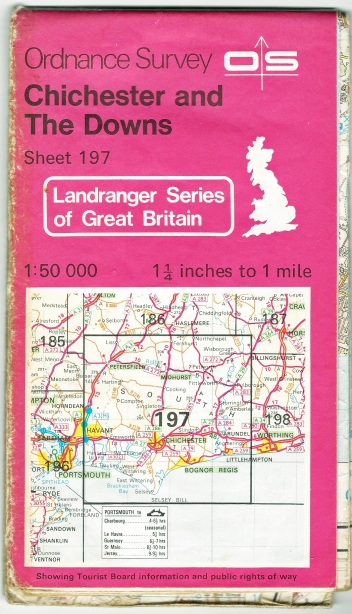 Ordnance Survey Landranger. Sheet 197. Chichester and The Downs. 1:50 000. Published 1984