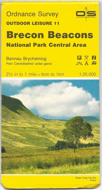 Ordnance Survey Outdoor Leisure 11. Brecon Beacons, National Park Central Area. 1:25 000. Published 1986