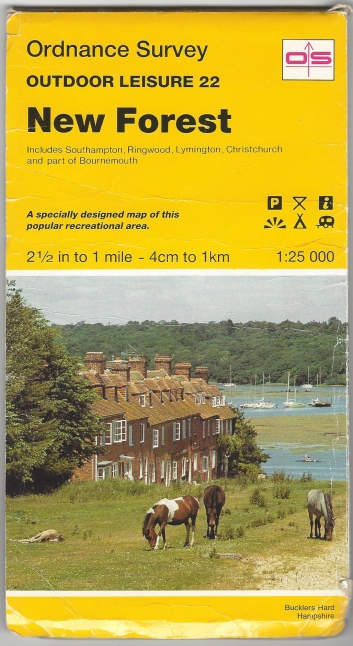 Ordnance Survey Outdoor Leisure 22. New Forest. 1:25 000. Published 1992. Printed on both sides of sheet