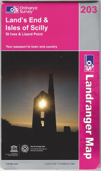 Ordnance Survey Landranger 203. Land's End & Isles of Scilly. Published 2008