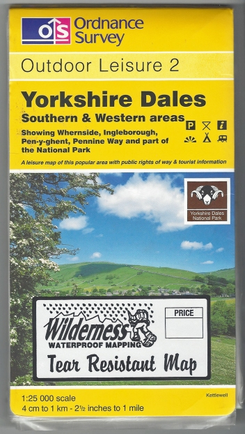 Ordnance Survey Outdoor Leisure 2. Yorkshire Dales Southern & Western Areas. 1:25 000. Published 1997. Printed on both sides of sheet