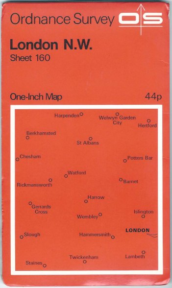 Ordnance Survey sheet 160. London N.W. One-inch series. Published 1970