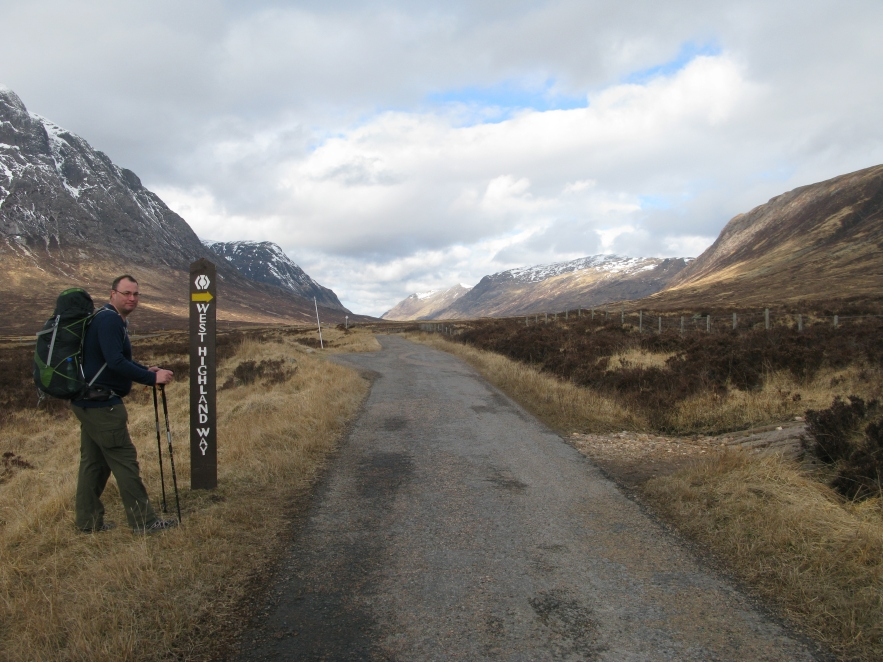 Three Points of the Compass hiking the West Highland Way in 2013. Glen Coe beyond