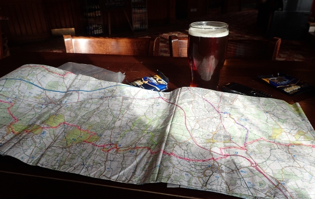 Route planning- map, pint of ale, bag of nuts
