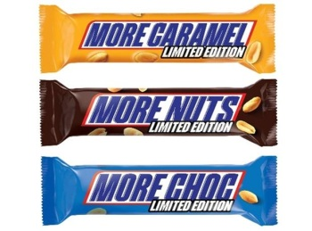 'limited Edition' Snickers bars. More Caramel, More Nuts, and More Chocolate bars failed to win much public attention in the UK. In truth, there was little dicernable difference between the bars