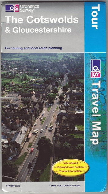 Ordnance Survey Tour series. The Cotswolds & Gloucestershire. 1:100 000. Published 2009