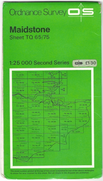 Ordnance Survey Second Series sheet TQ 65/75. Maidstone. 1:25 000 scale. Published 1975