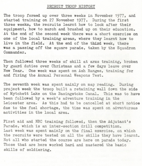The Basic Training in soldiering that I received as part of 77/13 Recruit Troop. 28 Training Squadron, Royal Engineers. Training in map reading took place on week seven of the three month course