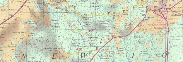 Those used to today's Ordnance Survey maps may be surprised by the shading incorporated on earlier maps. Rather than elevation, colour shading represented the predominant vegetation- wood, meadow, downland and heath. Ordnance Survey Tourist Map for the New Forest