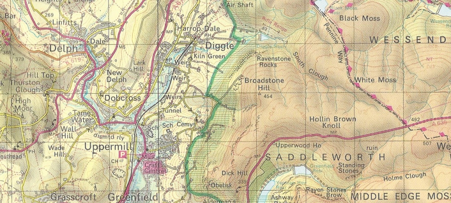 A change in the use of colour shading. Other than green for woodland, shading mostly represented elevation above sea level. Ordnance Survey, Peak District, 1986