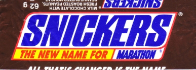 Snickers, new name in UK, 1991/2