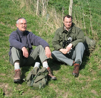 Birdwatching on the North Kent marshes with pal Allan Beeney, 2003
