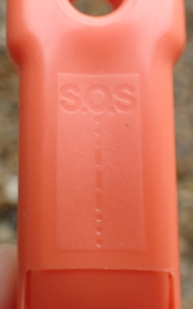The simple distress signal is shown on the back of the Perry whistle