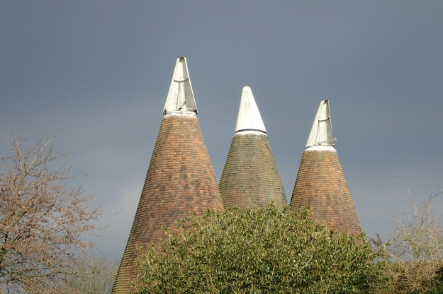 Oast Houses, once used for drying hops, are a reminder of the trades for which much of Kent was famous