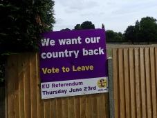 Despite being a walk through the countryside, national politics were still encountered. In the build-up to the national referendum on membership of the European Union, the Leave faction was only to evident