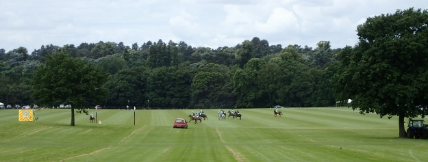 The wealthy heartland of Berkshire. Polo match at the 240 acre private equestrian centre, Coworth Park, Ascot