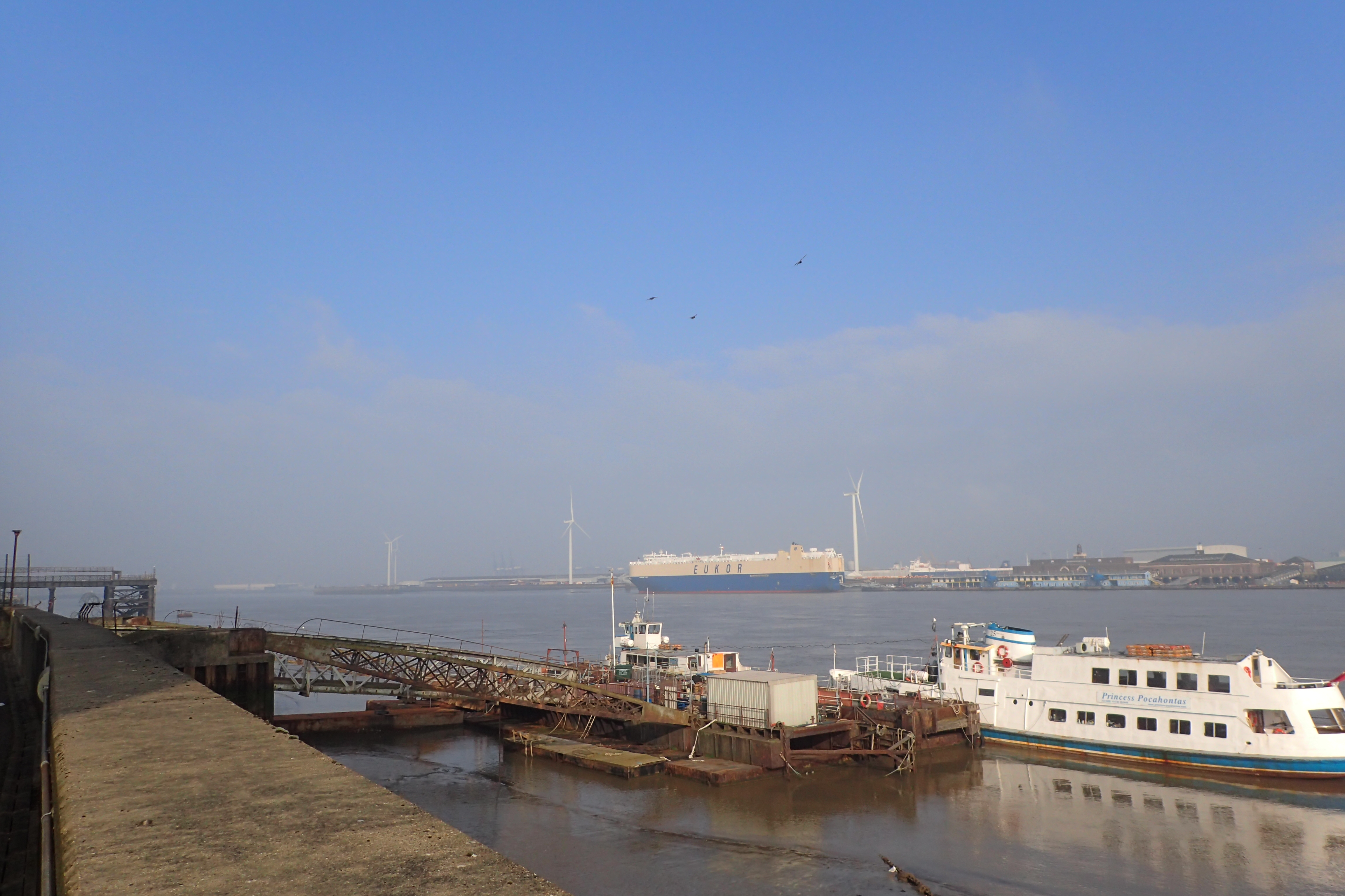 The wide River Thames at Gravesend, I will be crossing back to this point by ferry at the end of the walk