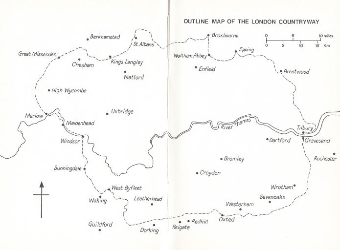 The London Countryway map as it appears in the Constable guide. My path follows a very close route
