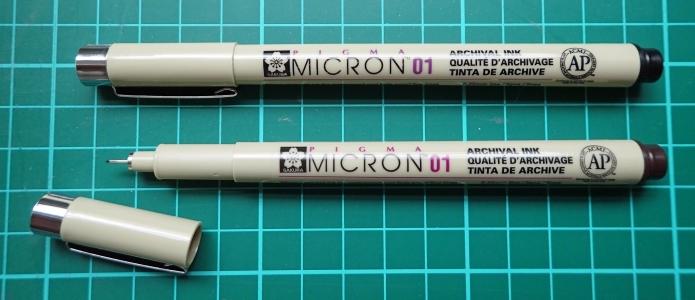 Sakura Pigma Micron 01 pens