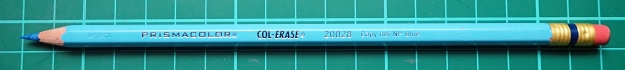 Prismacolor Col-Erase 200028 Copy not NP Blue pencil. The mark produced by this pencil is barely discernible on the paper