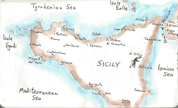 Sicily- pen and ink drawing in holiday journal
