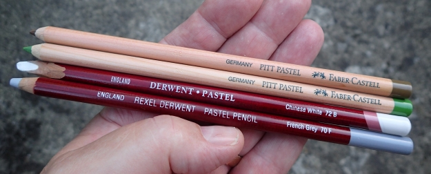 Pastel pencils are also an option for a travelling art kit. The wide ranges produced by both Derwent and Faber Castell are excellent products but can smear easily. My prefrence amongst these are the lovely tones from the Pitt Pastel range