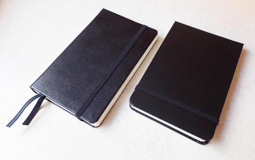 "My favoured notebook for longer trails is the Leuchtturm1917 Pocket Notebook, shown on the left here. This A6 (5 7/8"" x 3 1/2"") volume has 121 numbered pages. The paper is only an 80g weight so is in no way intended for painting and will only take the lightest of washes. The Moleskine Art Plus Watercolour album has a heavier weight paper- 200g and measures 5 1/2"" x 3 1/2"" in landscape format. This is far more suited to using with watercolour than the paper in the Moleskine Sketchbooks"