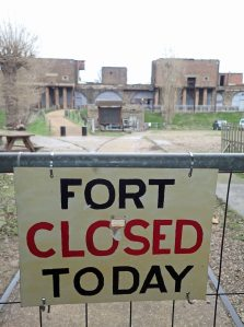 Every so often my timing was out. The day I arrived at Coalhouse Fort on the banks of the Thames, I was greeted by this sign