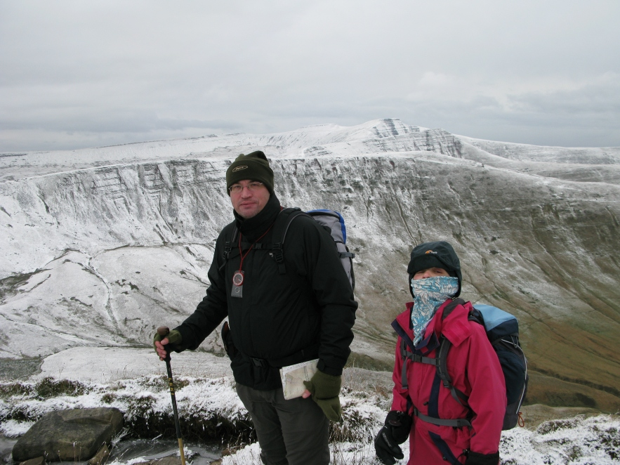 Three Points of the Compass using fingerless woollen mitts in the Brecon Beacons, October 2008. Accompanied by a well-wrapped up daughter